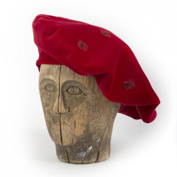 Old Fashion Sartoria, Firenze, Basco da donna in velluto rosso, handmade, artigianale, sartoriale, AC 09-03