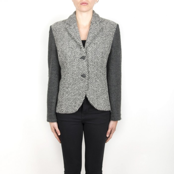 DG 02-03 Black blazers for women, black herringbone