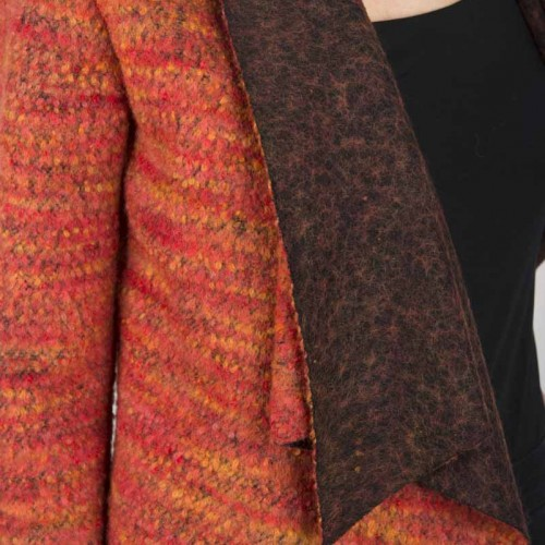 DG-04- 01 Red cardigan in wool, flamed red and charcoal