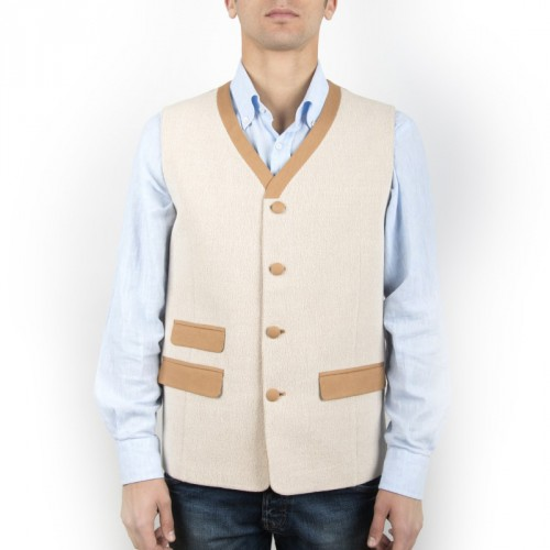 Old Fashion Sartoria, Men's vest in cotton and wool, sleeveless jacket, pockets and buttons, handmade in Florence, Italy, green fashion, sustainable fabric, UGI 01-01