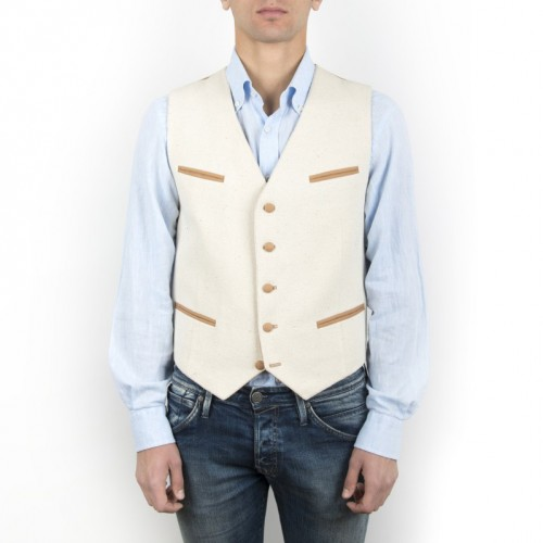 Old Fashion Sartoria, Men's vest in cotton and silk, pockets and buttons, handmade in Florence, Italy, green fashion, sustainable fabric, UGI 01-03