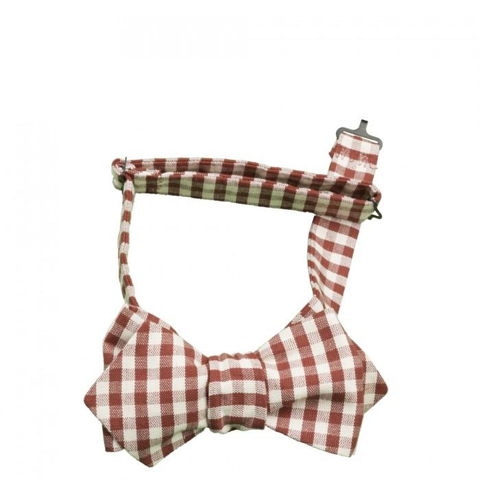 Old Fashion Sartoria, Cravatta a farfalla regolabile a quadretti bianco e rosso, cotone, hipster, happy hour, handmade, APA 04-03