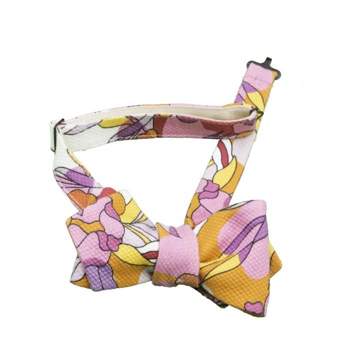 Old Fashion Sartoria, Papillon in piquet di cotone, multicolore rosa, viola, arancione, bianco, hipster, dandy, artigianale, made in Italy, APA 04-06