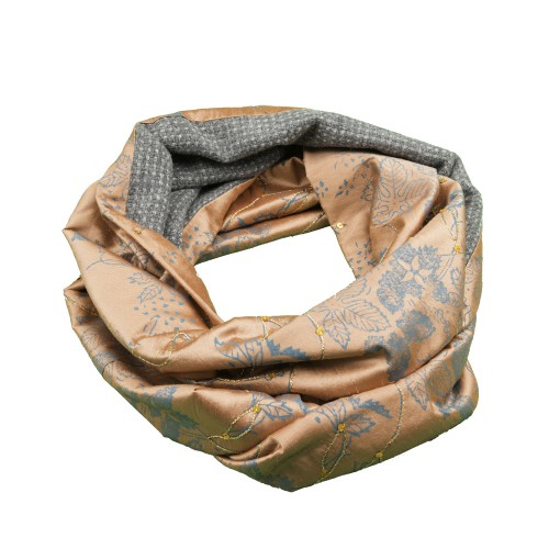 Old Fashion Sartoria, sciarpa ad anello doubleface in seta e cashmere, artigianale, ASC 01-04