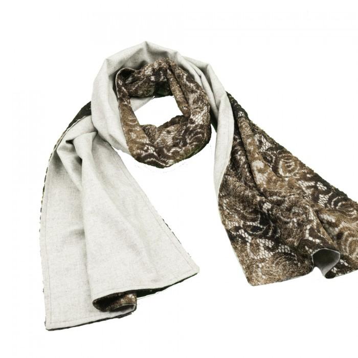 Old Fashion Sartoria, Firenze, sciarpa lunga in cashmere e pizzo, handmade, ASC 02-03
