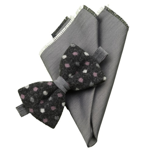 Old Fashion Sartoria, Set bow tie in boiled wool with pocket square, charcoal with dots, grey, handmade in Italy, PAPO 01-03