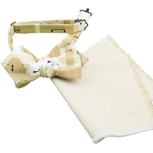 Old Fashion Sartoria, Papillon da annodare in cotone con Fazzoletto da taschino, cotone, cammello e bianco fantasia, a righe, sartoriale, PAPO 01-13