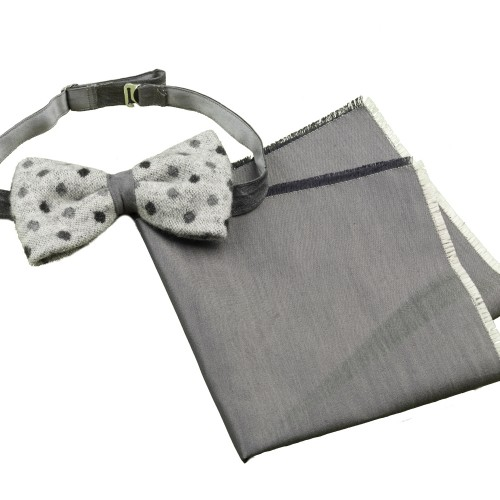 Old Fashion Sartoria, Bowtie in boiled wool with pocket square, grey, silver, dots, set, handmade in Italy, PAPO 01-20