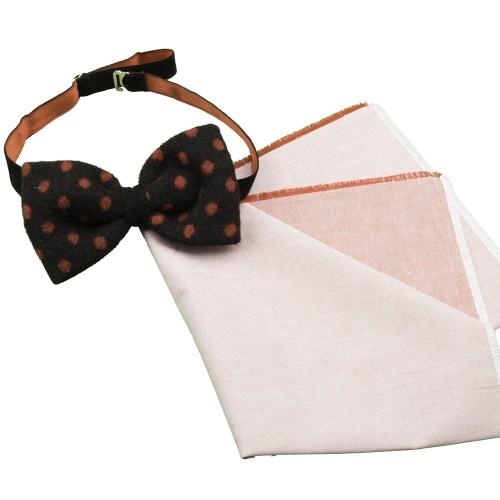 Old Fashion Sartoria, Papillon a pois in lana cotta con Fazzoletto da taschino in jeans, handmade, PAPO 01-21