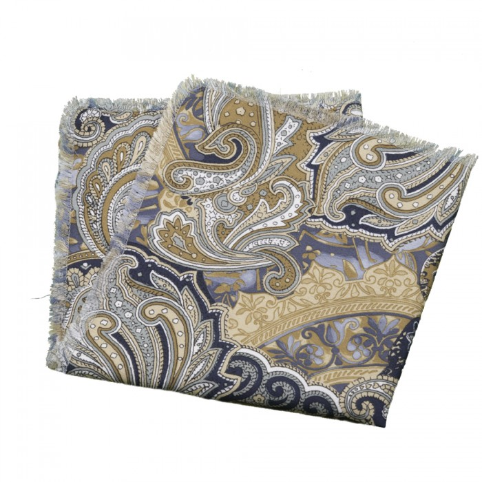 Old Fashion Sartoria, Pocket handkerchief, blue, camel, creme, Paisley, Cashmere, handmade in Florence, made in Italy, PO 01-06