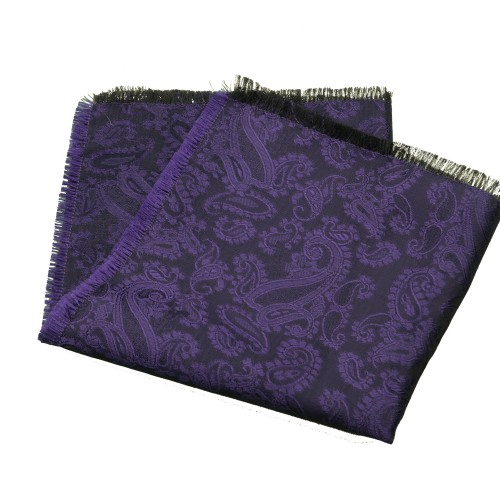 Old Fashion Sartoria, Pocket handkerchief, violet, Paisley, Cashmere, handmade in Florence, made in Italy, PO 01-09