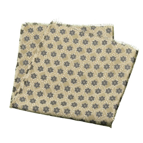 Old Fashion Sartoria, Pochette, Fazzoletto da tasca, seta, verde cammello con fiori, fatto a mano, PO 01-17