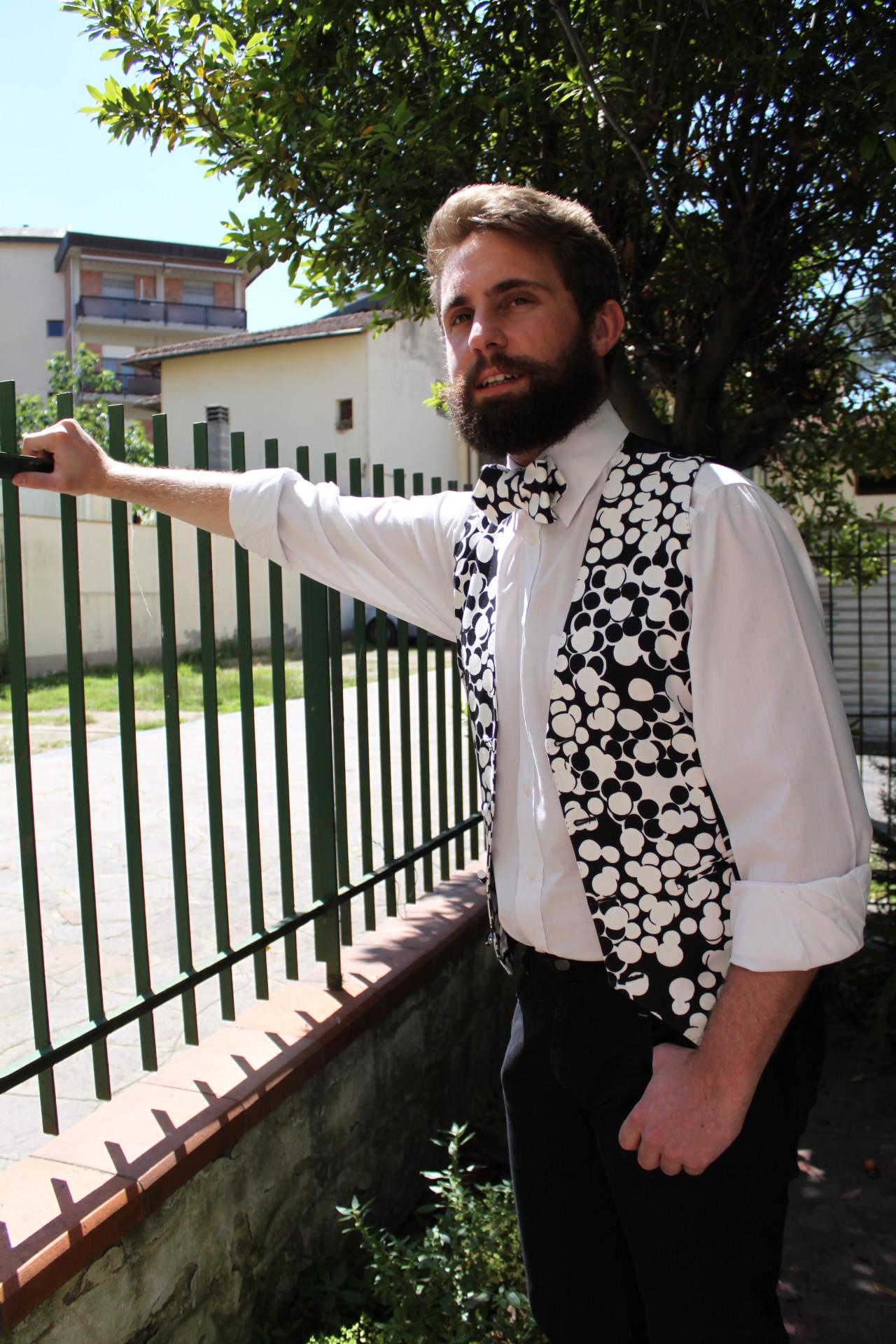 Hipster Matrimonio Uomo : Gilet da uomo in cotone bianco e nero stile hipster