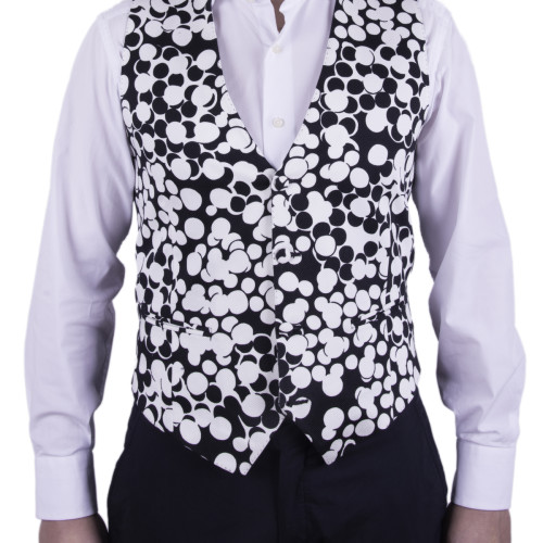Old Fashion Sartoria, men's waistcoat in black and white cotton, Ungaro, Brand, pockets, handmade and bespoke, UGI 01-35