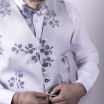 Bow Tie double-sided with Pocket Square and menswear waistcoat
