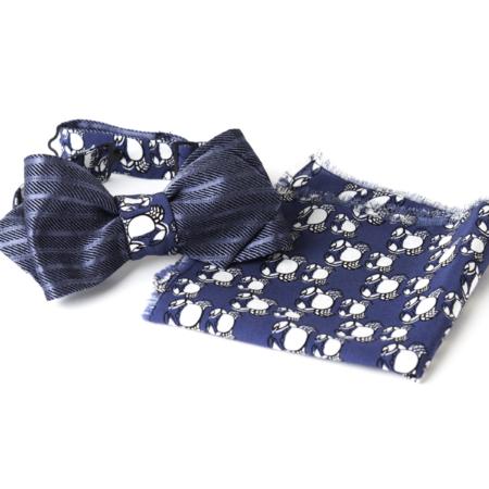 Old Fashion Sartoria, Cravatta a farfalla double face in seta con Fazzoletto da taschino, Set, blu e fantasia, artigianale, sartoriale, PAPO-01-23