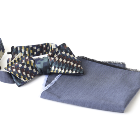 Old Fashion Sartoria, Papillon con Pochette, Set, seta, blu, artigianale, sartoriale, PAPO 01-24