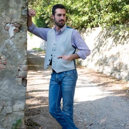 Old Fashion Sartoria, panciotto da uomo in lana di Zeri e jeans, tasche tipiche della Toscana, sartoriale, artigianale, UGI 01-05