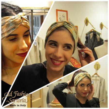 Old Fashion Sartoria, fascia per capelli, nodo, animalier, marrone, verde  artigianali,  AC 12-10