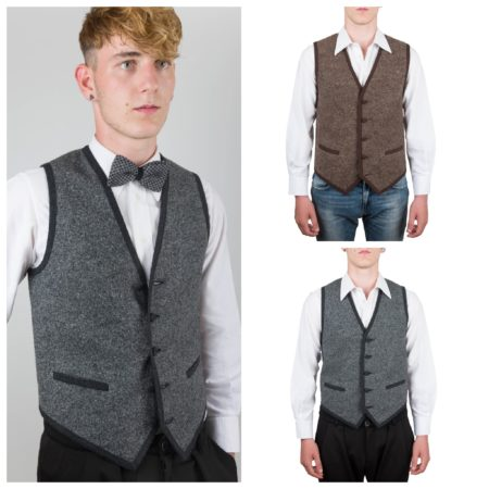 Old Fashion Sartoria, gilet, uomo, lana, melangiato, grigio, marrone, UGI 01-39