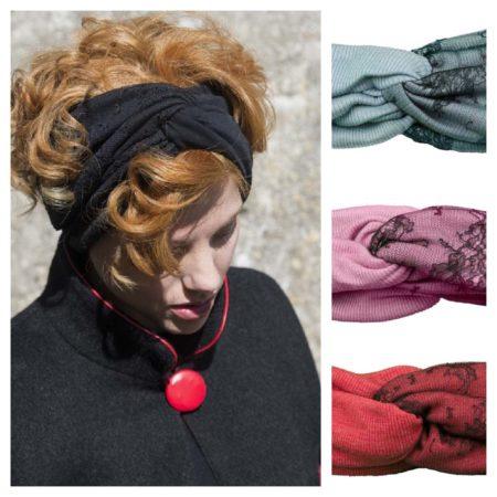 Old Fashion Sartoria, Fascia per capelli, lana e pizzo, nero, rosso, blu, rosa, handmade, Firenze, Italia, AC 12-07