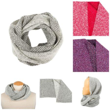 Old Fashion Sartoria, Firenze, Loop, lana cotta, morbido, caldo, grigio, rosso, viola, sciarpe cristal, ASC 01-10