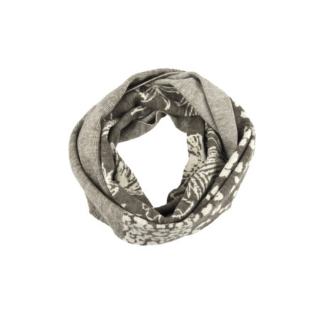ASC 01-17 sciarpe ad anello double face lana cotone fiori beige avorio righe circle scarf wool cotton