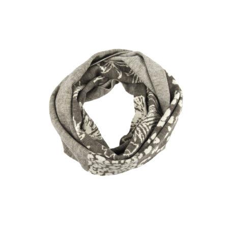 ASC 01-17 sciarpe ad anello double face lana cotone fiori beige avorio righe circle scarf wool cotton