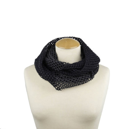 ASC 01-20 Sciarpa ad anello rete pizzo blu navy scaldacollo grigio double face circle scarf wool blue