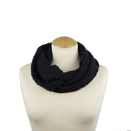 ASC 01-21 scaldacollo pizzo fiori blu navy snood loop lace floral blue